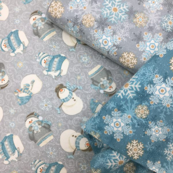 100% Cotton Flannel - 'I Still Love Snow' by Henry Glass & Co - Turquoise Snowflakes
