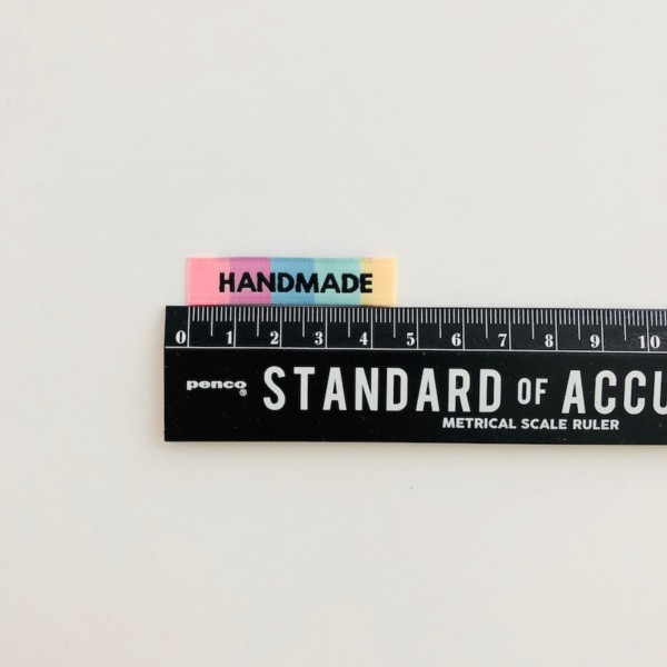 "Pack of 8 Woven Sewing Labels by Kylie and the Machine - ""Handmade"" Rainbow"