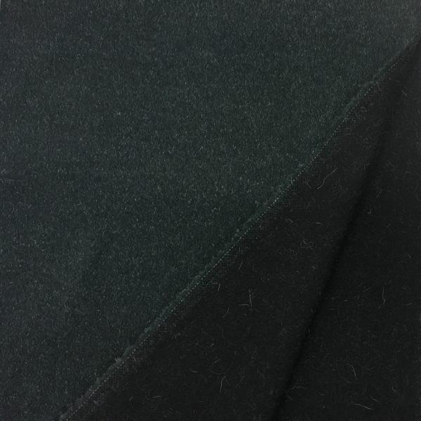 Short Pile Wool Blend Fabric - Dark Bottle Green