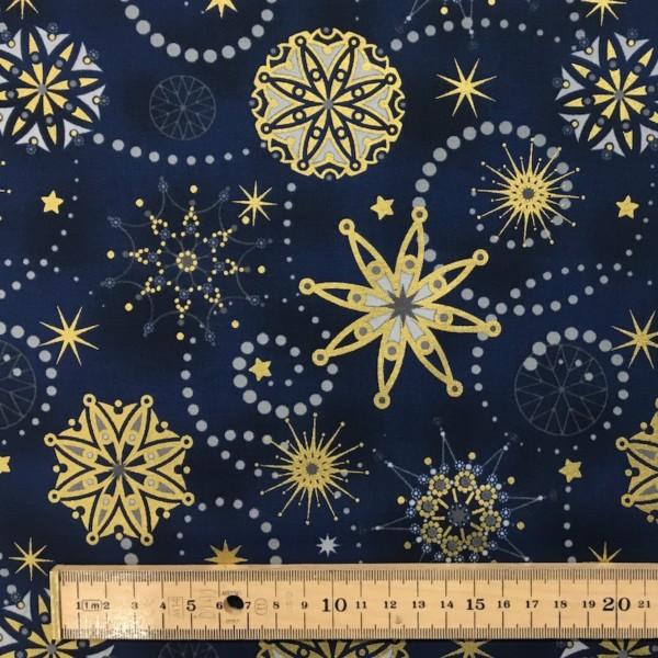 100% Cotton Christmas Prints - Stoffabrics 'Starlight' - Midnight Blue Intricate Snowflakes