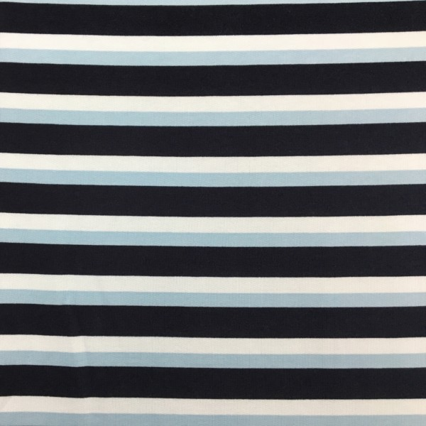 Fleece Back Sweatshirt Jersey - Stripes - Blue
