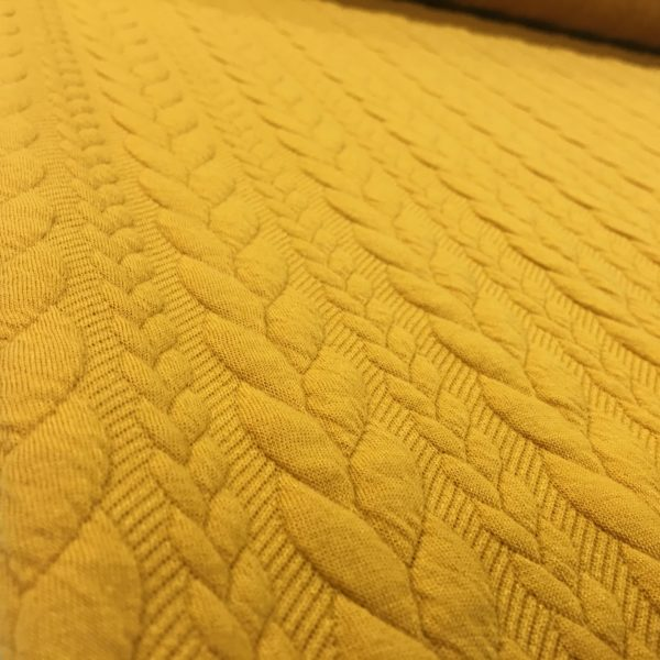 Cable Knit Cloque Jersey - Golden Yolk
