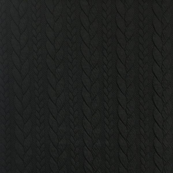 Cable Knit Cloque Jersey - Black