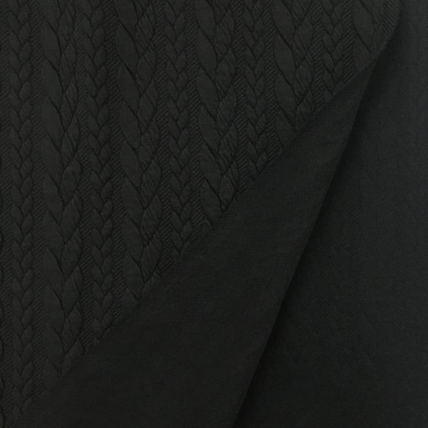 Cable Knit Cloque Jersey - Black