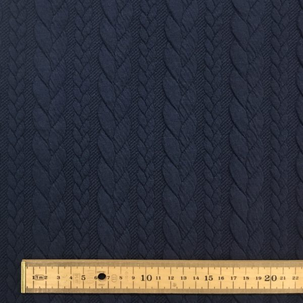 Cable Knit Cloque Jersey - Navy Blue