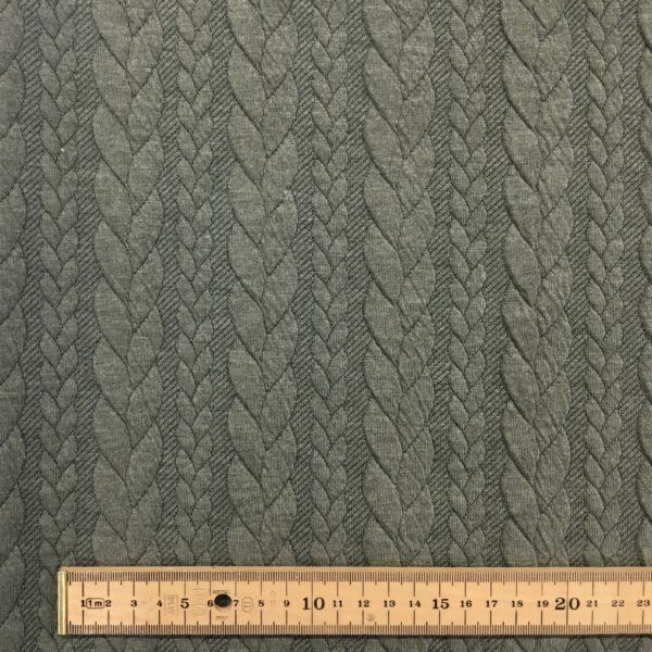 Cable Knit Cloque Jersey - Sage Green