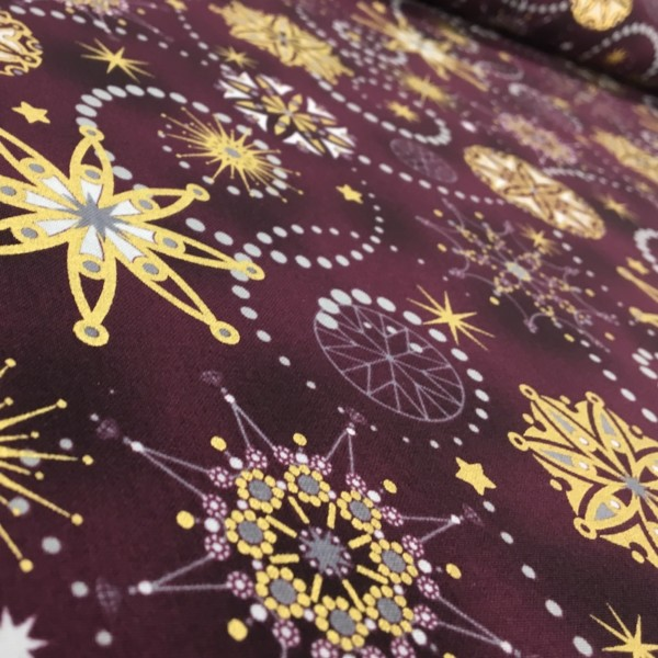 100% Cotton Christmas Prints - Stoffabrics 'Starlight' - Claret Intricate Snowflakes