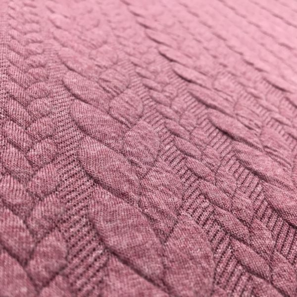 Cable Knit Cloque Jersey - Rose