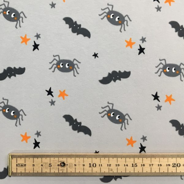 Cotton Spandex Jersey - Halloween Spooky Bats, Spiders and Stars