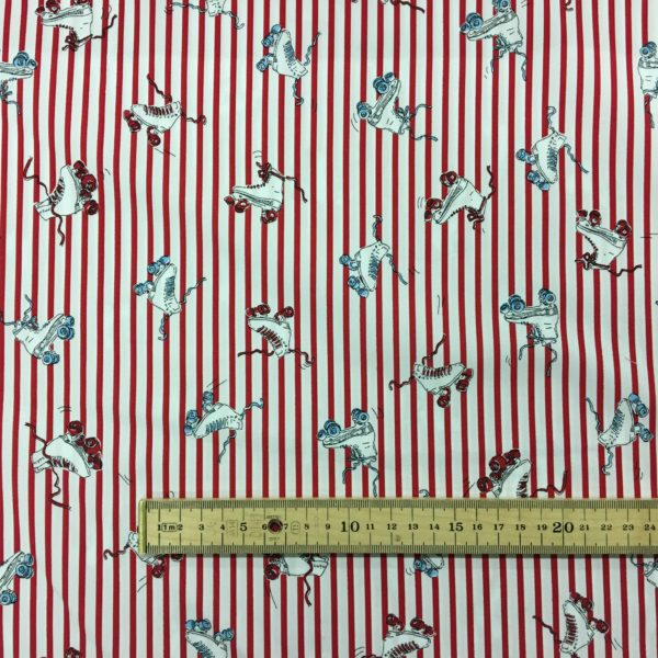 100% Cotton - Red Stripes with Vintage Style Roller Skates