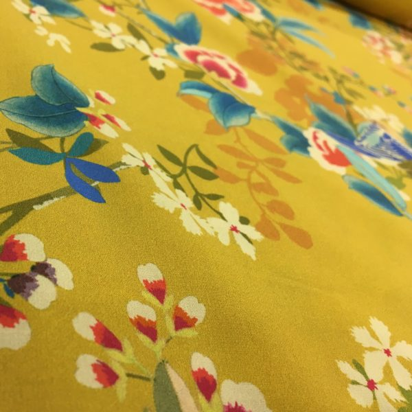 Lady McElroy 100% Cotton 'Marlie' Lawn - Chaffinch Bough in Old Gold