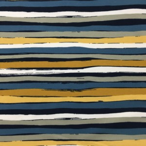 Stof of Denmark Avalana Jersey - Teal/Ochre Irregular Stripe