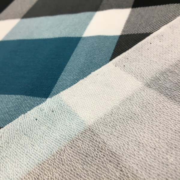 Stof of Denmark Avalana Loop Back French Terry Jersey - Giant Check - Teal