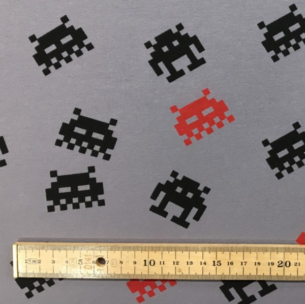 Stof of Denmark Avalana Brushed Back French Terry Jersey - Space Invaders