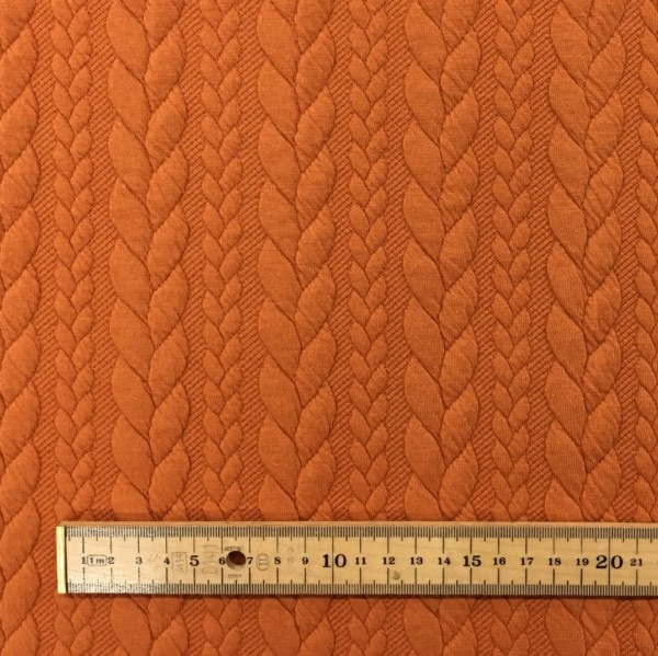 Cable Knit Cloque Jersey - Pumpkin