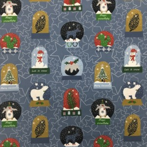 100% Cotton Christmas Prints - Stoffabrics 'Snow House' - Snow Globes on Denim