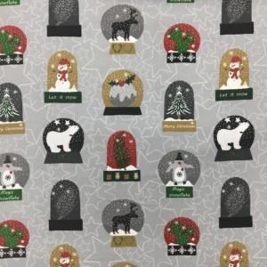 100% Cotton Christmas Prints - Stoffabrics 'Snow House' - Snow Globes on Light Grey