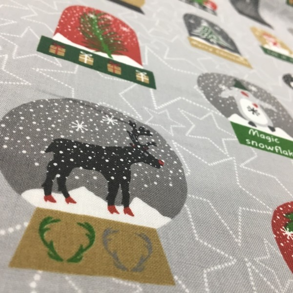 100% Cotton Christmas Prints - Stoffabrics 'Snow House' - Snow Globes on Light Grey
