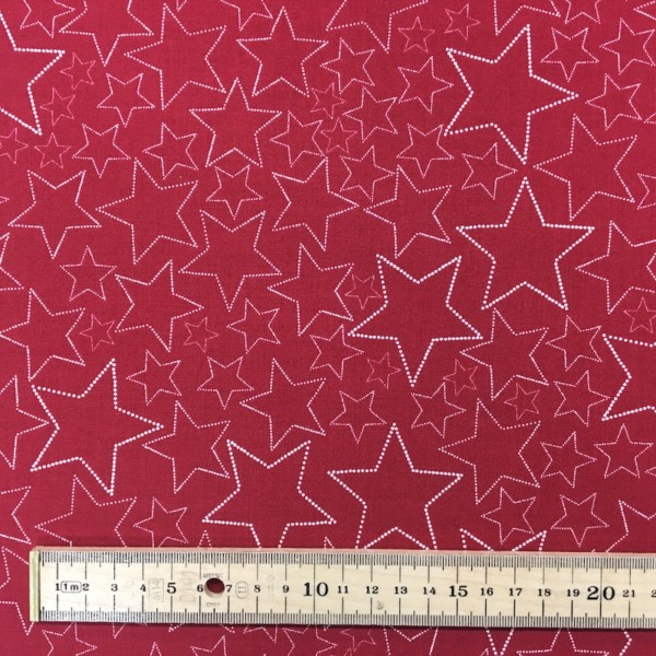 100% Cotton Christmas Prints - Stoffabrics 'Snow House' - Red Stars