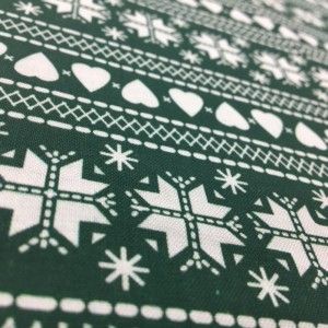 100% Cotton Christmas Prints - Stoffabrics 'Nordic Hygge' - Forest Green Fair Isle