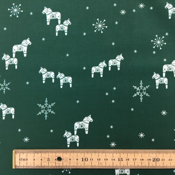 100% Cotton Christmas Prints - Stoffabrics 'Nordic Hygge' - Forest Green Toys and Snowflakes