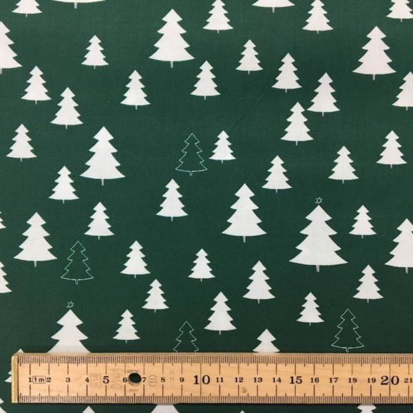 100% Cotton Christmas Prints - Stoffabrics 'Nordic Hygge' - Forest Green Pine Trees