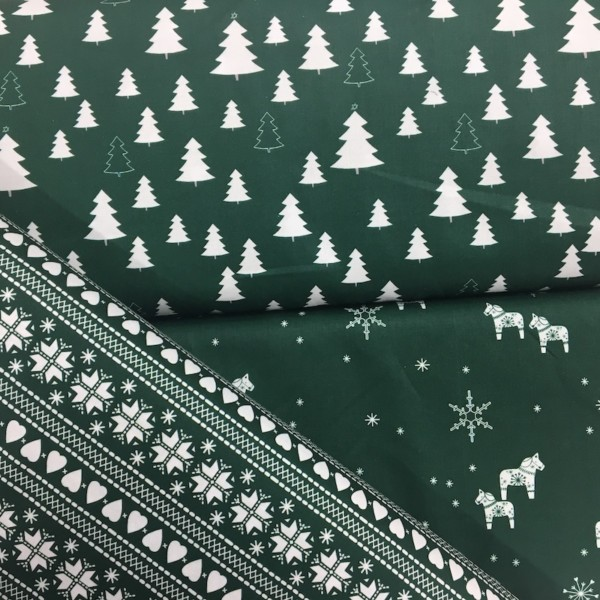 100% Cotton Christmas Prints - Stoffabrics 'Nordic Hygge' - Forest Green Fair Isle