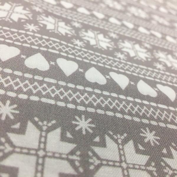 100% Cotton Christmas Prints - Stoffabrics 'Nordic Hygge' - Light Grey Fair Isle