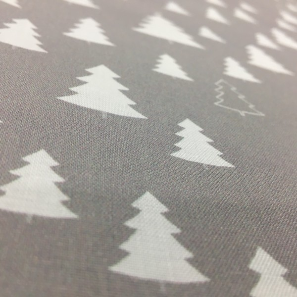 100% Cotton Christmas Prints - Stoffabrics 'Nordic Hygge' - Light Grey Pine Trees
