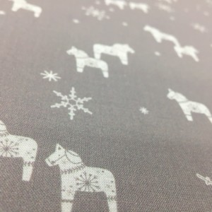100% Cotton Christmas Prints - Stoffabrics 'Nordic Hygge' - Light Grey Toys and Snowflakes