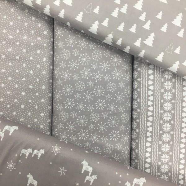 100% Cotton Christmas Prints - Stoffabrics 'Nordic Hygge' - Light Grey Tiny Snowflakes