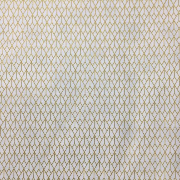 100% Cotton Christmas Prints - Stoffabrics 'Starlight' - White/Gold Art Deco Style