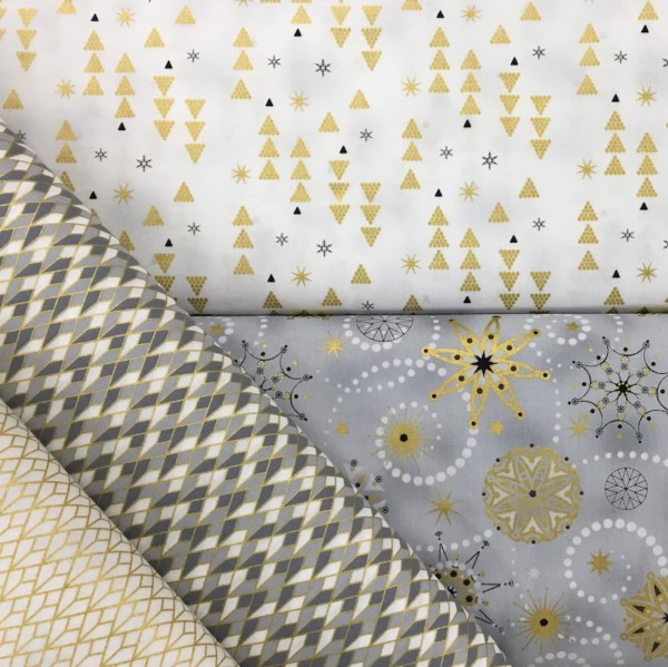 100% Cotton Christmas Prints - Stoffabrics 'Starlight' - White/Gold Trees and Snowflakes