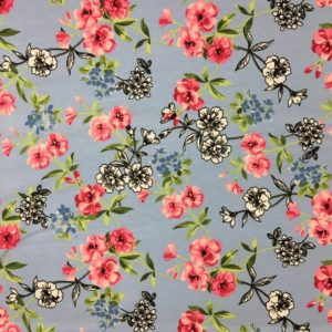 Organic Cotton Spandex Jersey - Pink Flowers on Blue