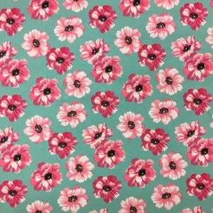 Organic Cotton Spandex Jersey - Aqua with Pink Flowers
