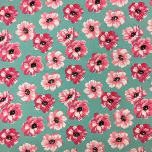 Organic Cotton Spandex Jersey - Aqua with Pink Flowers