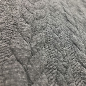 Cable Knit Cloque Jersey - Mid Grey