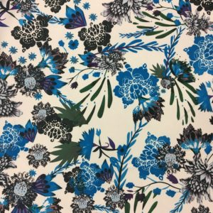 Lightweight 100% Polyester Morricaine - White with Blue Flowers