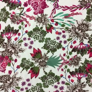Lightweight 100% Polyester Morricaine - White with Cerise Flowers