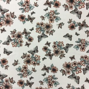 Lightweight Rayon Challis - White with Butterflies and Flowers