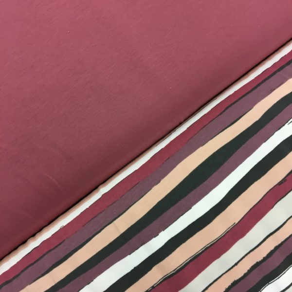 Stof of Denmark Avalana Jersey - Pink/Peach/Wine Irregular Stripe