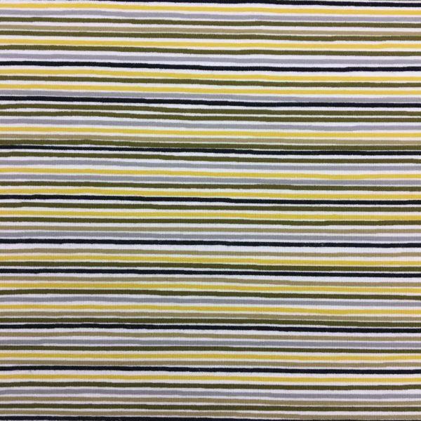 Stof of Denmark Avalana Jersey - Yellow, Grey & White Stripes