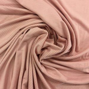 Cotton Spandex Jersey - Pale Pink/White Stripe