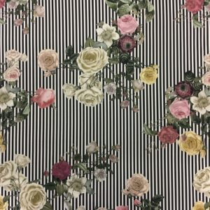Lady McElroy Cotton Spandex Soft Stretch Drill - L'amour Joli Vintage Stripes & Flowers