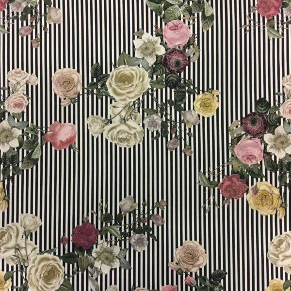 Lady McElroy Cotton Spandex Soft Stretch Drill - L'amour Joli Vintage Stripes & Flowers
