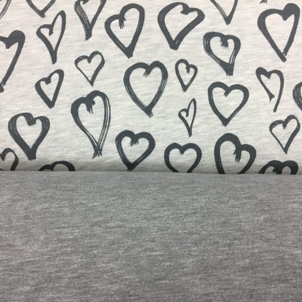 Stof of Denmark Avalana Sweatshirt Melange Jersey - Heart Print