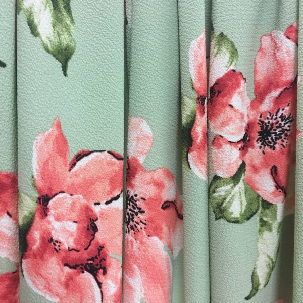 Lightweight Textured Bubble Crepe - Mint with Large Pink Flowers