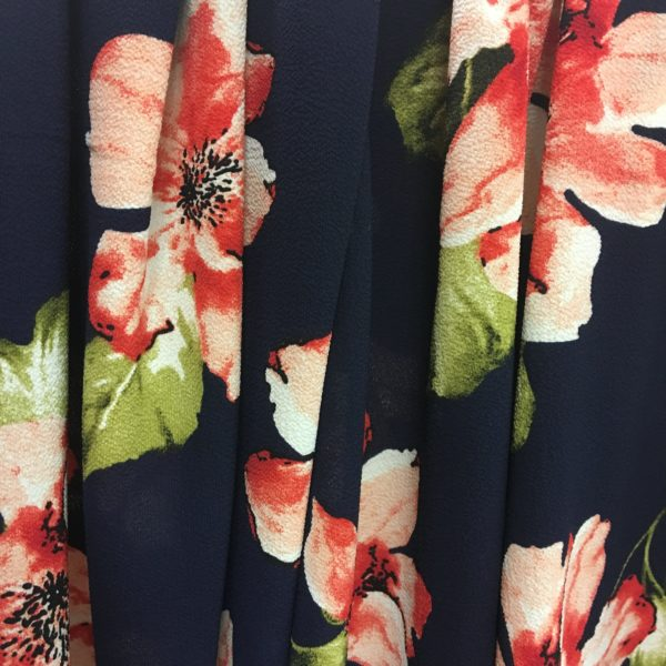 Lightweight Textured Bubble Crepe - Navy with Large Pink Flowers