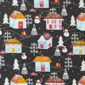 100% Cotton Christmas Prints - Festive Houses on Dark Grey