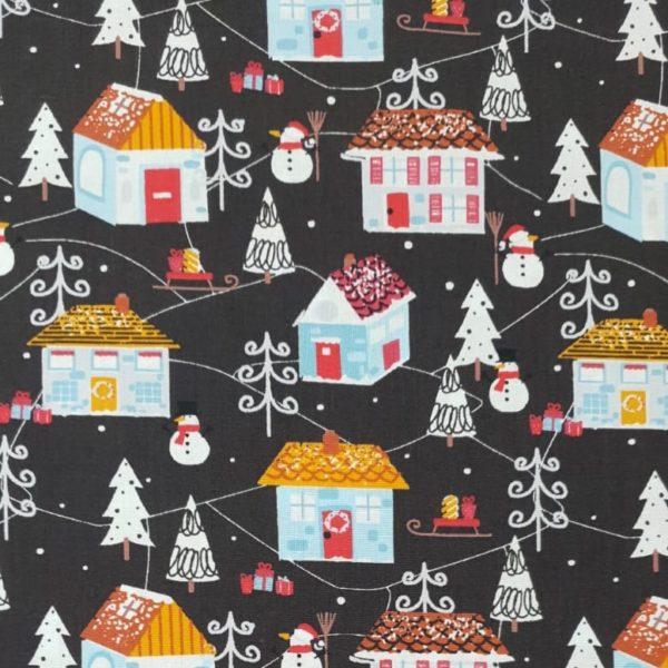 100% Cotton Christmas Prints - Festive Houses on Dark Grey